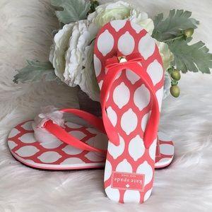🆕Kate Spade Pink Lemon Flip Flops NWOB
